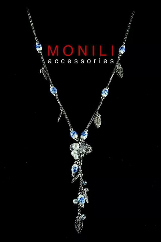 Y Necklace made of ceramic beads and leaves shape by Monili