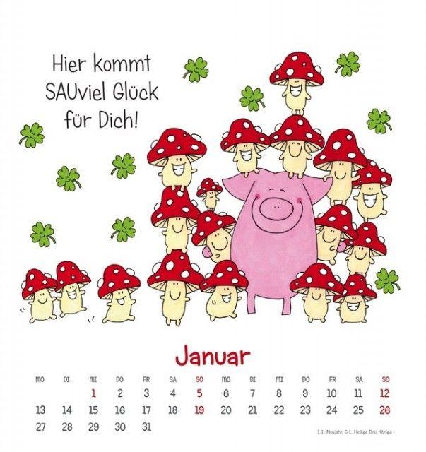 Ein Dutzend Glücksschweine für Dich! Kalender 2014