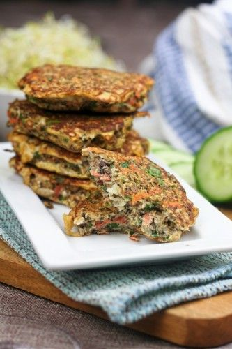 Cauliflower Fritters    Paleo friendly with plenty of veggies, seeds and nuts