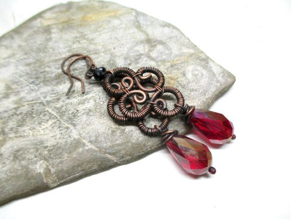 Copper earrings with red and black faceted glass by DrofiJewelry