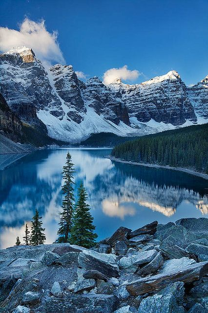 Valley of the Ten Peaks, reflected in the brilliant blue Moraine Lake