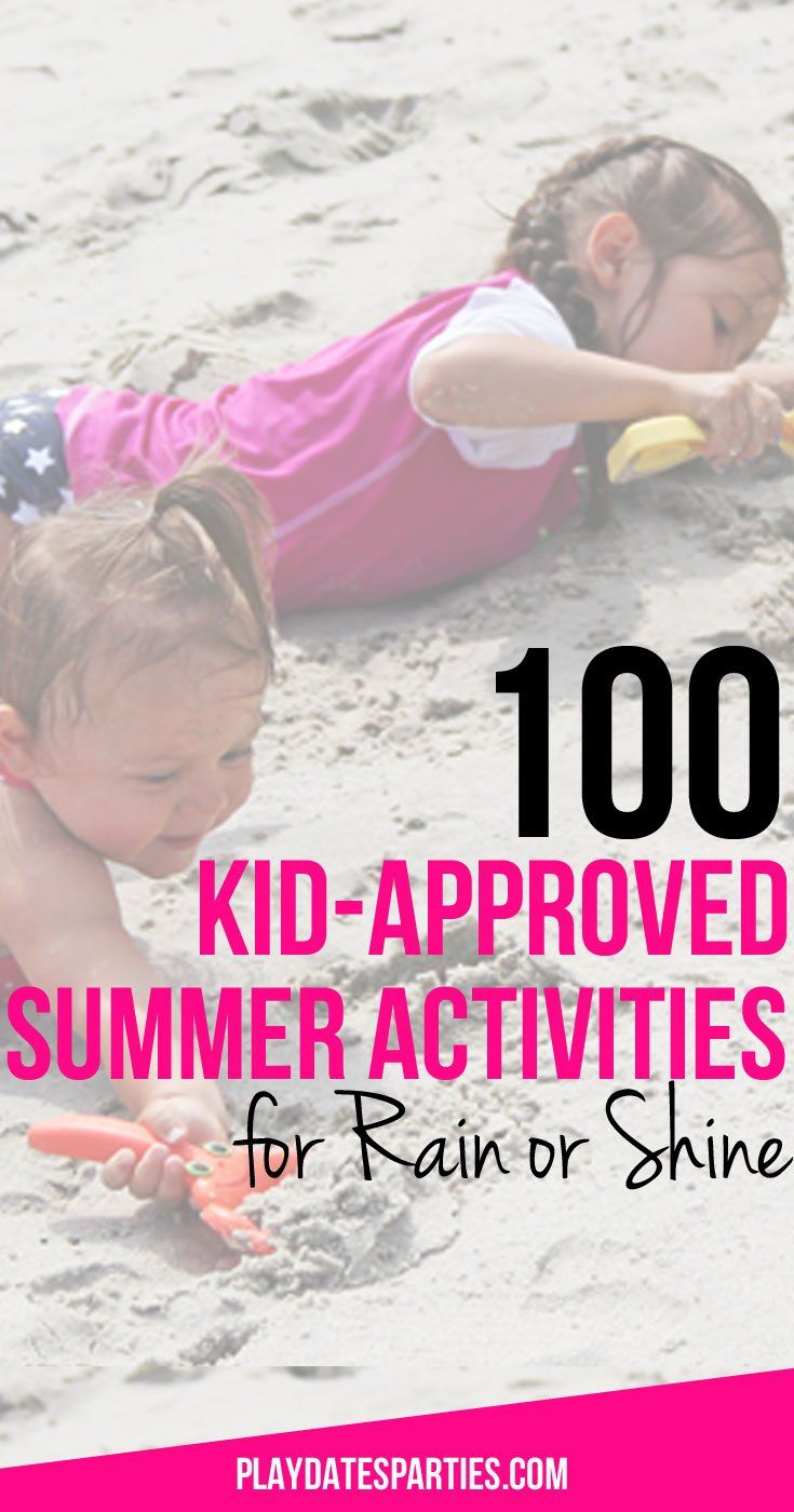 No excuses for bored summer days! This list of 100 summer activities for kids covers every day of the week including sunny and rainy day activities.