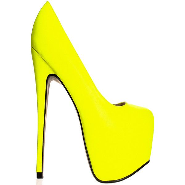Neon yellow faux leather platform high heels (34 AUD) ❤ liked on Polyvore featuring shoes, pumps, neonyellow, high heel shoes, neon yellow pumps, platform shoes, platform pumps and almond toe shoes