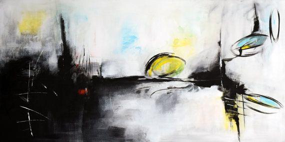 Grande dipinto astratto bianco e nero 60 originale arte