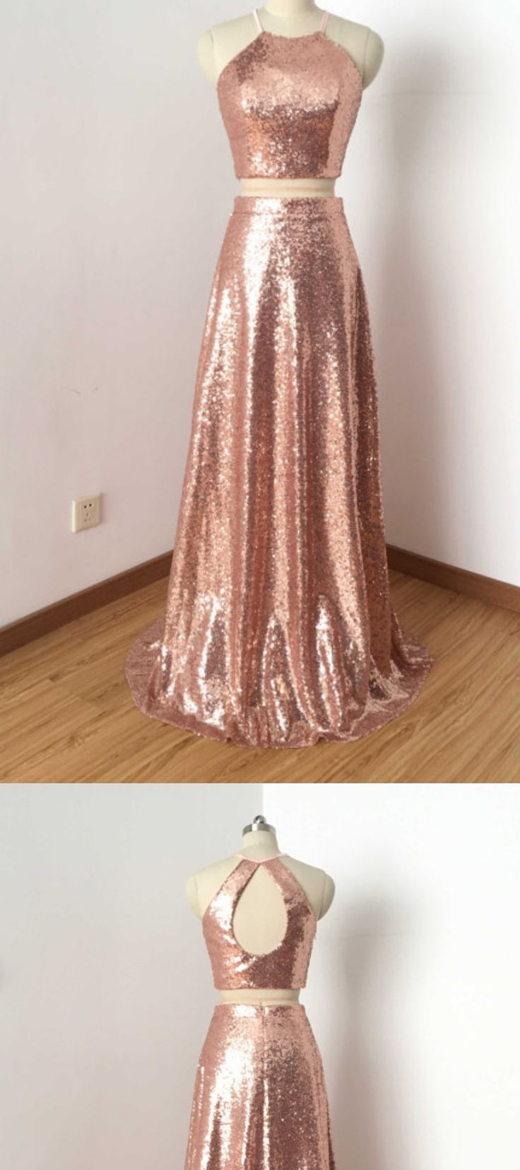 Two Piece Rose Gold Sequin Long Prom Dress with a high neck. I am absolutely in love with this 2 piece rose gold long special occassion dress. It screams Hollywood glamour with trendy sparkly rose gold accents. The peek a boo back is s5unning in itself! This is the perfect dress for prom, homecoming, and any event where you want to be best dressed and the center of attention #promdresses #homecomingdresses #ad #specialoccassiondress #dress #rosegold