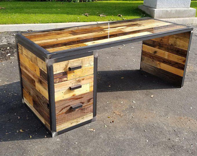 Industrial Reclaimed Wood Desk Industrial Style Industrial Desk