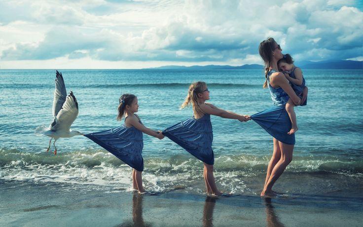 Море Птицы Чай Девочки Двое Младенцы Юмор Девушки Дети
