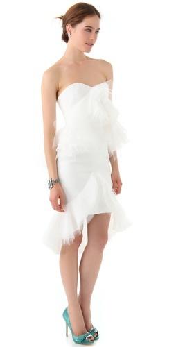 Marchesa -- loveFashion, Strapless Dresses, Bridal Dresses, Strapless Shorts, Receptions Dresses, Tulle Ruffles, Little White Dresses, Marchesa Strapless, Shorts Bridal