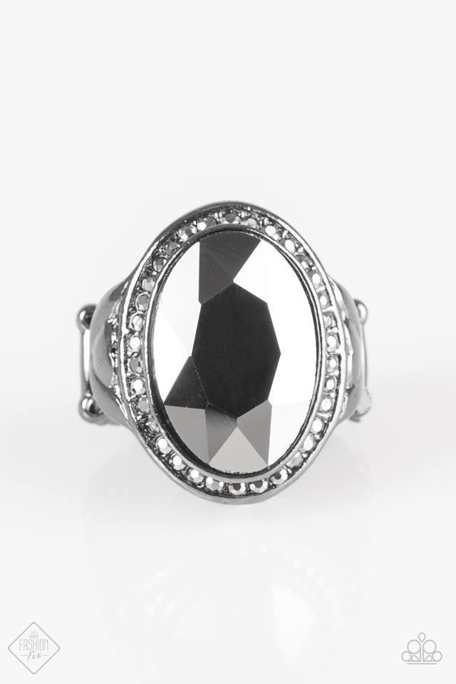 Flat Out Knockout Silver Ring Black Rings Rings Paparazzi Jewelry