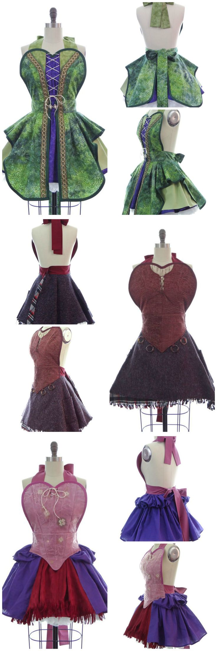 What to wear at your Hocus Pocus Halloween Party?  Why a Sanderson Sister apron, of course!  We have aprons for Winifred, Mary and Sarah Sanderson.  You will absolutely put a bewitching spell on your guests if you wear these!