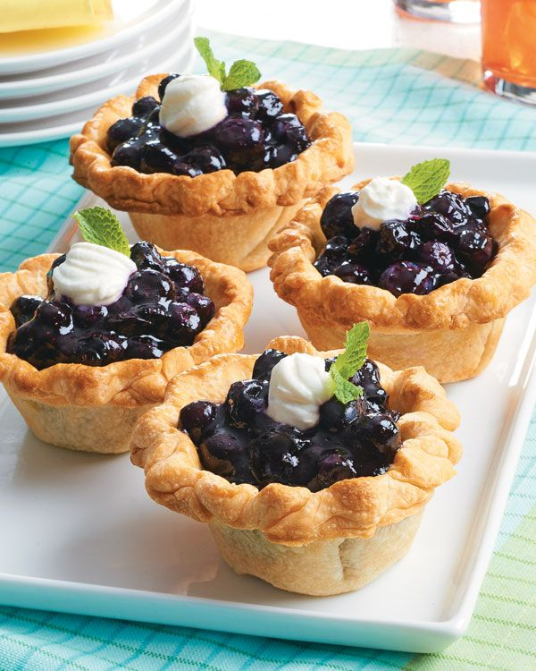 Mini Blueberry Pies  The pie crusts and the filling can be made ahead and assembled right before serving.