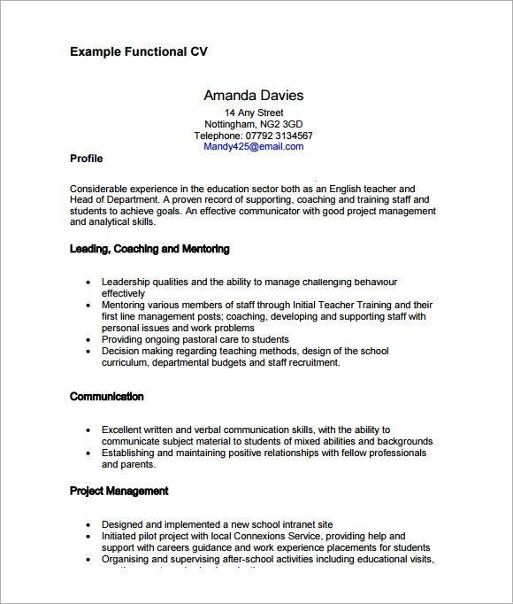 Sample Functional Cv 9 Documents In Pdf Word Functional Resume Template Free Resume Template Download Functional Resume