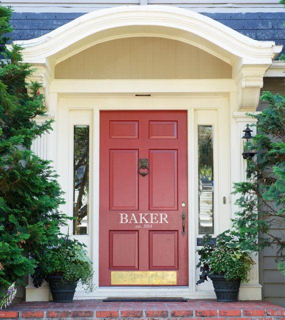 "Front Door Decoration Family Name Established Decal Sign Custom Vinyl Saying Monogram 4"" High x Custom Width"