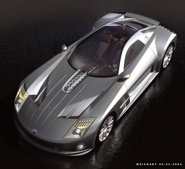 Concept Car Silver Chrysler Viper Desing Sketch (2013)