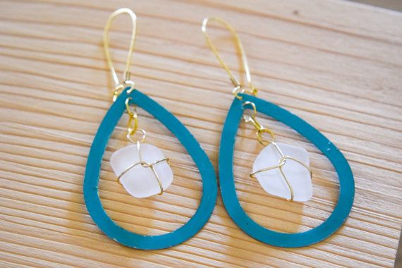 SUMMER SALE Turquoise delicate earrings with by Christinasfamily