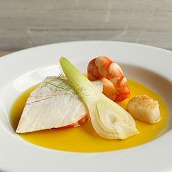 Saffron Fish Consommé minus the shrimp & scallops