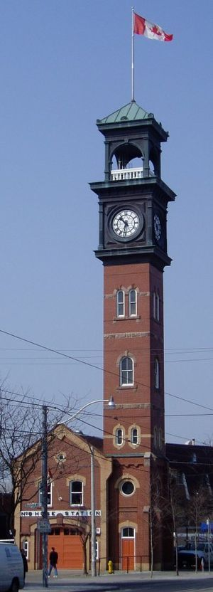 Toronto Fire Station & Clock Tower - Toronto fire station (hall) Hose no.8 at College Street in Bellevue. The building was apparently built in 1878