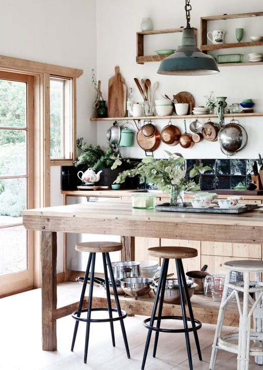 kitchen with lots of pots in the home of Tamsin Carvan and Family from The Design Files