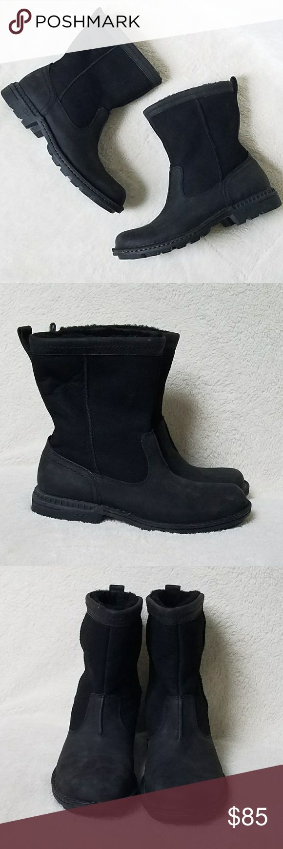 Men's Foerster Ugg Boots EUC! Men's Foerster Ugg Boots in size 8.5. Genuine leather and sheepskin outer and rugged rubber soles. These all-weather boots are a great boot for everyday  wear. Shaft lining is synthetic to stand up to wear and weather but insole lining is genuine sheepskin. Retail new $200. UGG Shoes Boots