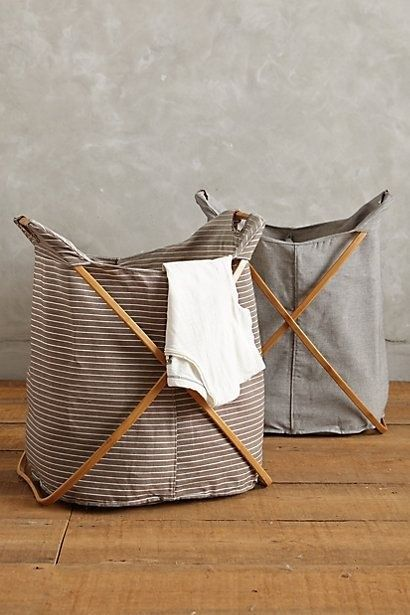 striped laundry or toy basket