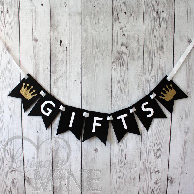 Little Prince Baby Shower Gifts Banner, in Black, White & Glitter Gold by LovinglyMine on Etsy