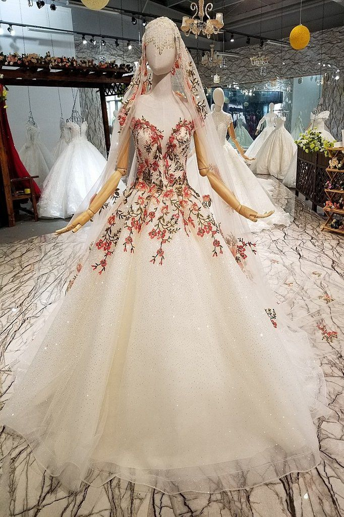 Gold Embroidery Simple Long Tail Wedding Dress Wedding Dresses