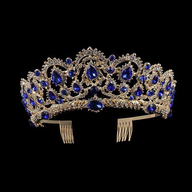 KMVEXO Europese Drop Groen Rood Crystal Tiaras Vintage Gold Rhinestone Pageant Kronen Met Kam Barokke Bruiloft Haaraccessoires