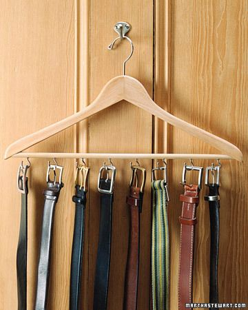 Belt Rack ~ To attach cup hooks to a good wooden hanger, first drill holes with an appropriate-sized bit. (If you try to screw hooks in with your hands without first making holes, the rod might split.) Space holes evenly, about 2 inches apart; if the screws of hooks are too long, snip off ends with wire cutters before screwing them in