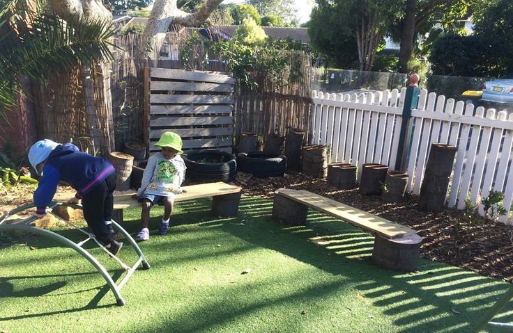 With the help of our fabulous maintenance man, we created these awesome new benches for the outside area. We used recyclable items plus some tree stumps and wooden planks to create a very useful chair for the children to enjoy!