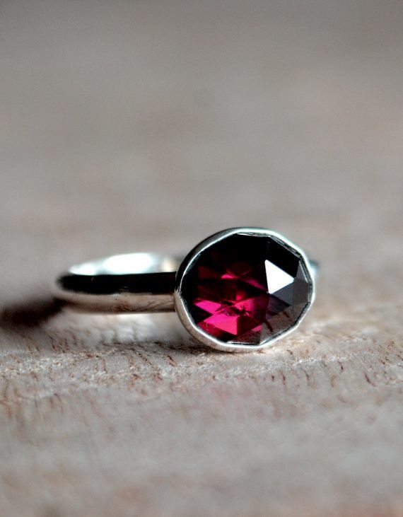 Rose cut garnet and sterling silver ring