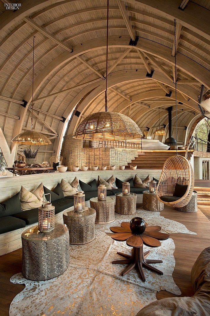 Inspirational interior design featuring natural materials including furniture. #interiordesign #lounge #exotic