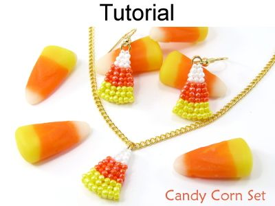 Beaded Candy Corn Halloween Earrings Beading Tutorial Pattern Instruction Directions
