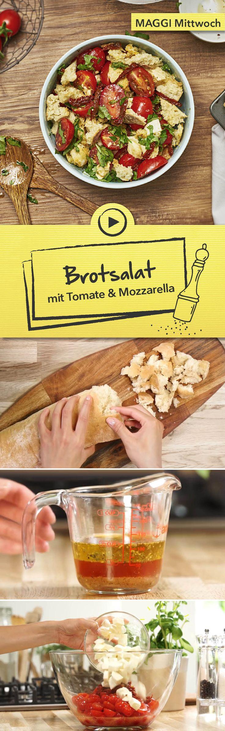Unser Brotsalat mit Tomaten und Mozzarella bringt Abwechslung in deine Salat-Rezepte! Die Mischung aus frischen und getrockneten Tomaten, knusprig gebackenem Ciabatta und cremigem Käse sorgt für ein tolles Aroma. Und dazu sieht der Salat auch noch hübsch aus.
