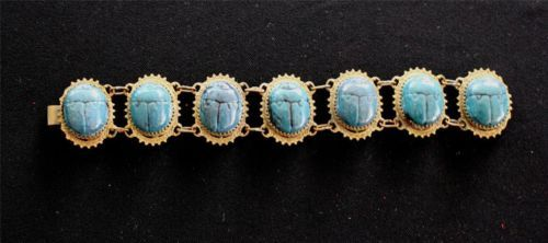 RARE ANTIQUE 1920'S EGYPTIAN REVIVAL BLUE SCARAB BRACELET 8 3/4 INCH LENGTH $233 ----- Awesome OLD scarab bracelet.