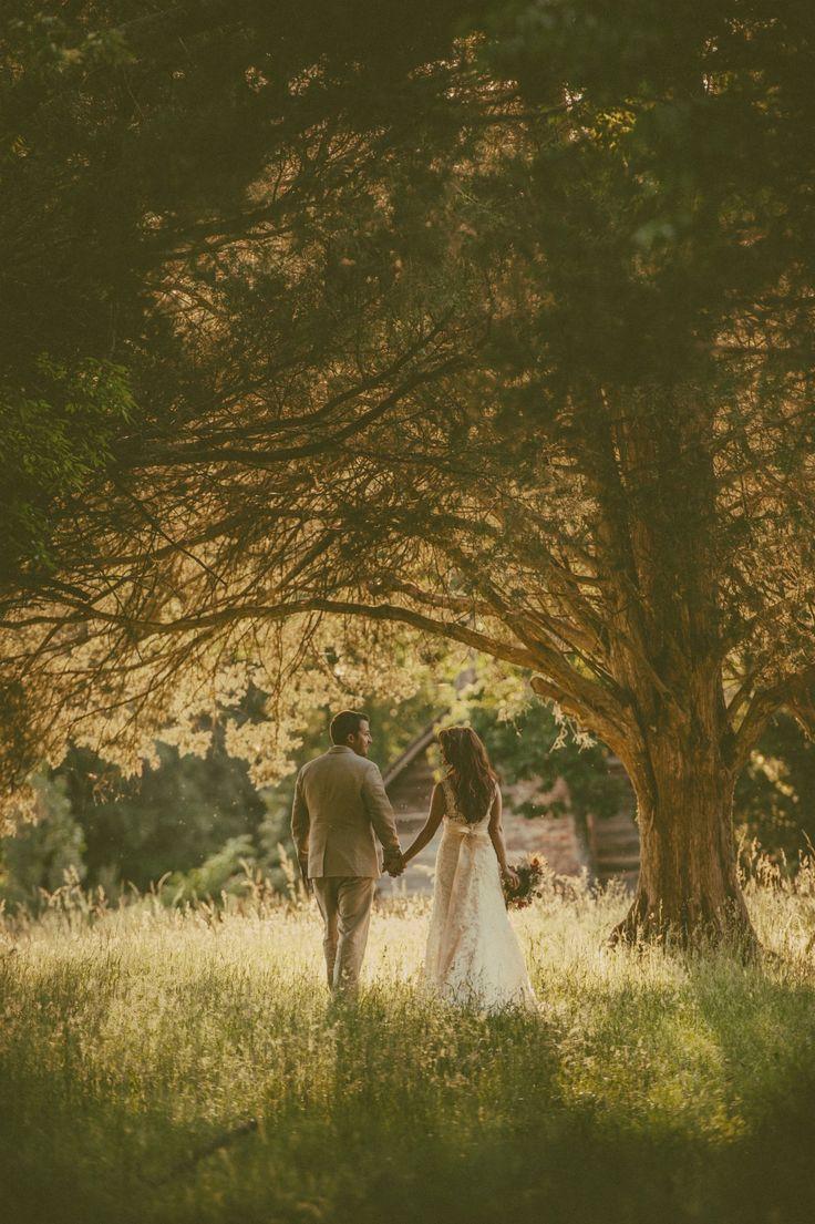 Dream Wedding | Southern Wedding | Holding Hands | Romantic | Rustic Wedding | Bride | Groom | Love | Happy | Trees | Outside Wedding | Rustic Wedding