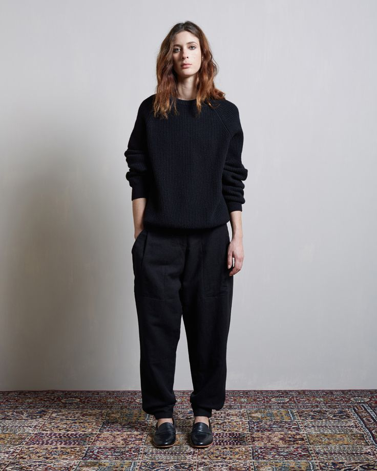 Christophe Lemaire / Rib Sweater Christophe Lemaire / Carrot Pants Dieppa Restrepo / Penny Loafer #lagarconneatelier