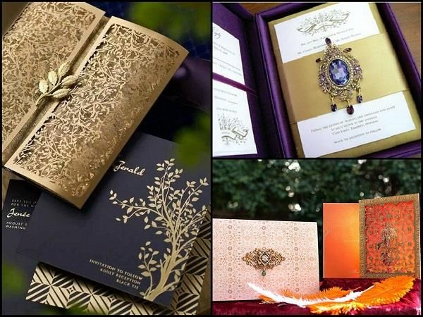 Elegant Wedding Cards With Center-Piece Embellishment. #Wedding #WomenTriangle www.womentriangle.com