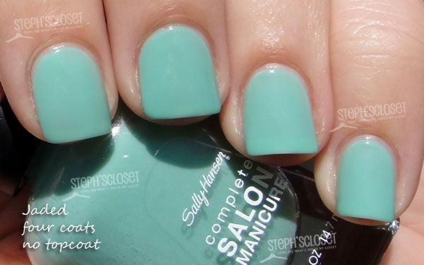 Sally Hansen Jaded nail polish.  Bought it the other day. Did 4 coats, and I like the color, but I could have done more.