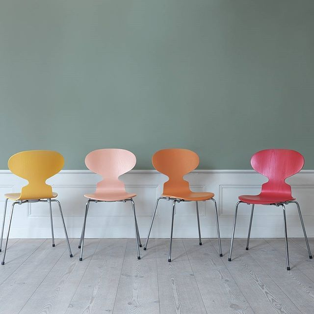 Four little Ant™s in the most amazing colours. #fritzhansen #arnejacobsen
