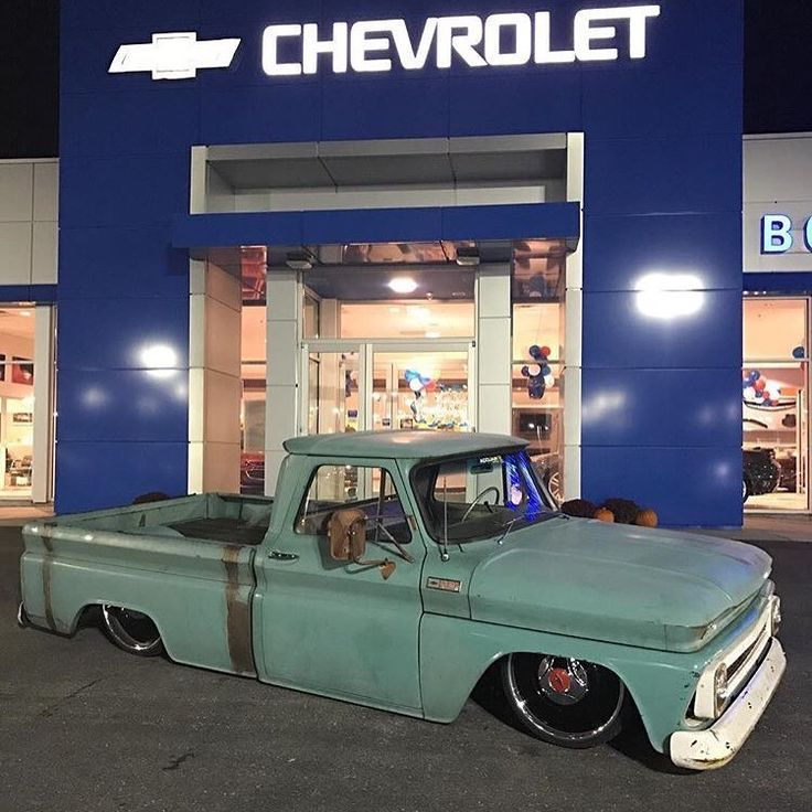 Hot Wheels - Bad ass shot of @nickbrais posted up at the local dealership, laid out stance for days! #chevrolet #gmc #c10 #airsuspension #bagged #layframe #carporn #hotrod #streetrod #streetmachine #streettruck #lowfastfamous @delmospeed @accuair