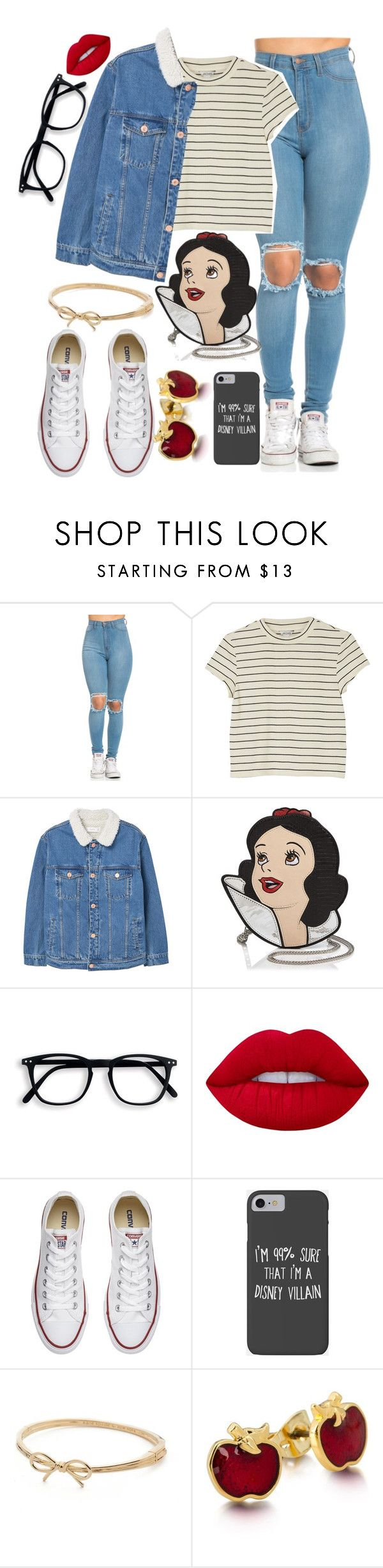 """""""OOTD"""" by iamrosyrosalie on Polyvore featuring Monki, MANGO, Danielle Nicole, Lime Crime, Converse, Disney and Kate Spade"""