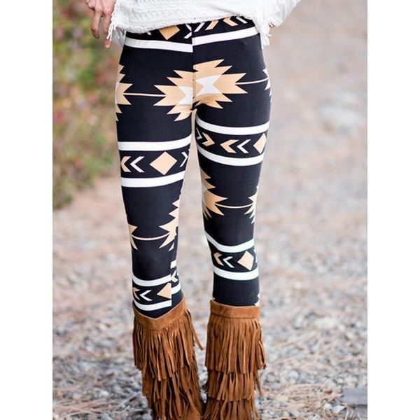 Black Contrast Stripe And Tribal Print Leggings ($21) ❤ liked on Polyvore featuring pants, leggings, tribal print trousers, tribal pattern leggings, tribal print leggings, lycra pants and spandex leggings