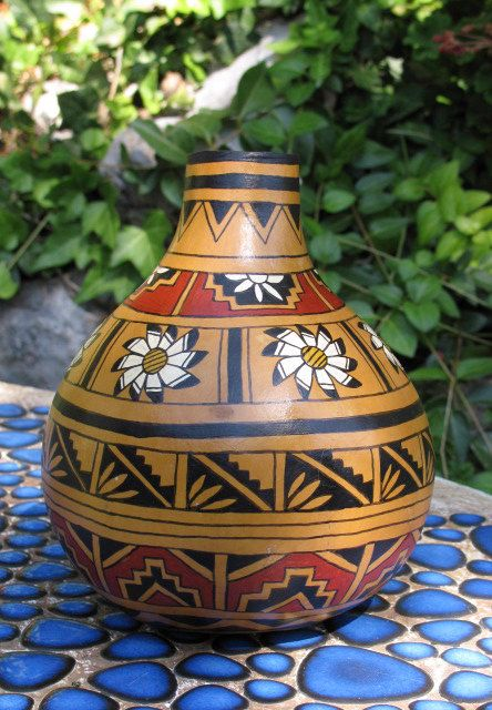 Southwestern Hand-painted Gourd Pot #603 Daisy