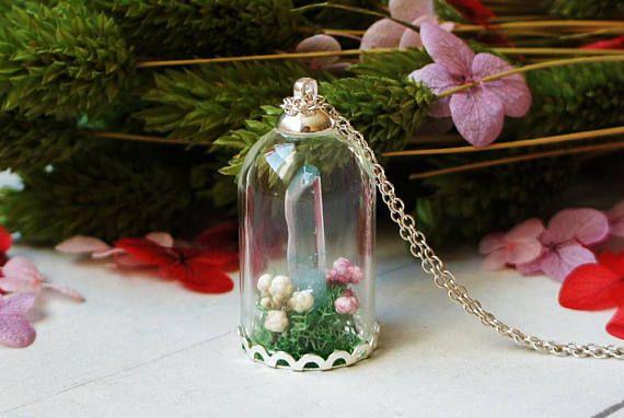 Crystal Quartz Terrarium Necklace Real Flower Necklace