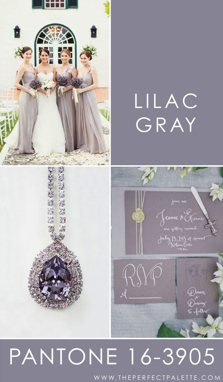 Lilac Gray - 16-3905    Peaceful, serene, and absolutely dreamy, Lilac Gray is the kind of color that works nicely with soft neutrals. For instance, a nice crisp white or even other types of gray, those are the sort of shades that I like to see paired with with this smokey shade of gray.