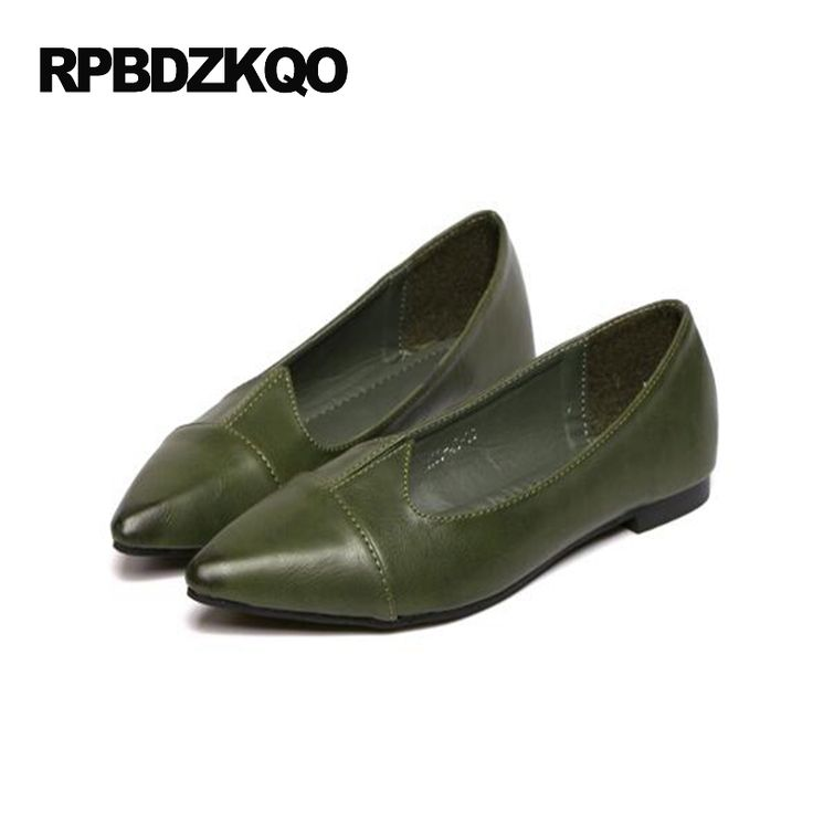 Chinese Comfortable Plain Ladies Flats Size 35 Cheap Shoes China Pointed Toe Slip On 2017 Gray Green Women Latest Drop Shipping #Affiliate