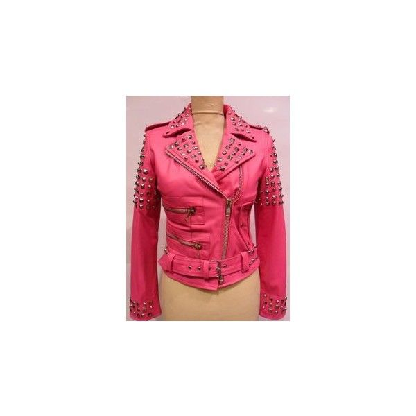STRAIGHT TO HELL NWOT! pink leather jacket ❤ liked on Polyvore featuring outerwear, jackets, pink straight jacket, red jacket, pink leather jackets, 100 leather jacket and pink jacket