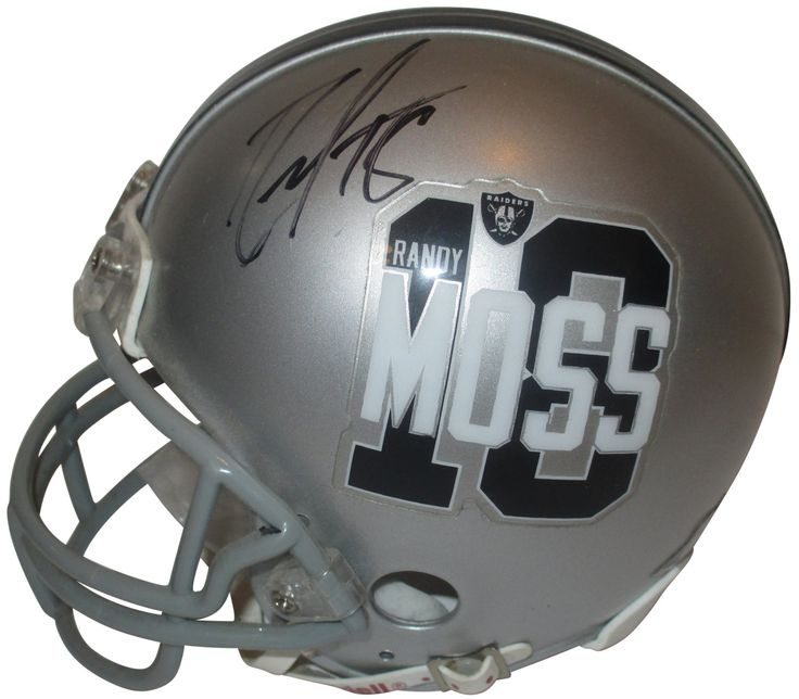 Randy Moss Autographed Oakland Raiders #18 Moss Riddell Mini Football Helmet, Proof. This is a brand-new Randy Moss signed Oakland Raiders #18 MossRiddell mini football helmet.Randysigned the helmetin black sharpie.Check out the photo of Randy Mosssigning for us. ** Proof photo is included for free with purchase. Please click on images to enlarge. Please browse our websitefor additional NFL & NCAA footballautographed collectibles.1   Notable Career Accomplishments:  7-Time NFL Pro…