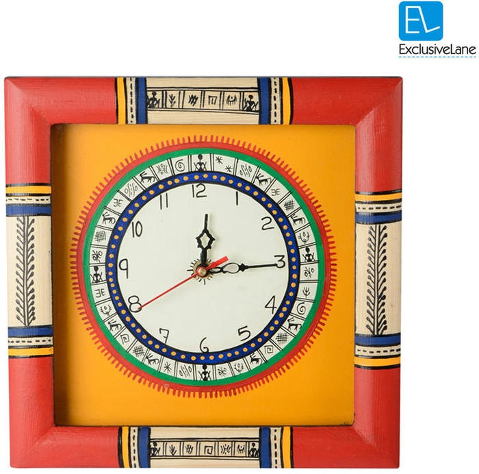 Exclusive Lane Warli Hand Painted Clock 10 X 10 Inch Yellow (multicolor)