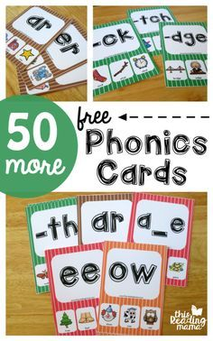 50 More Phonics Cards (FREE) for ending blends/digraphs, bossy r vowels, long vowels with silent e, vowel digraphs, and other vowels - This Reading Mama